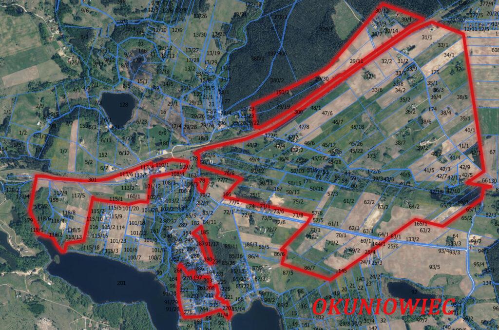 mapa konsultowanego obszaru części obrębu geodezyjeno Okuniowiec